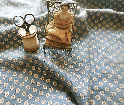 Antique Stone Blue Brown Brushed Cotton Flannel Paisley Fabric ~ Dolls Quilts