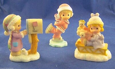 Lot 3 1999 Precious Moments Miniature Winter Sledding Mailbox Skating Figurines