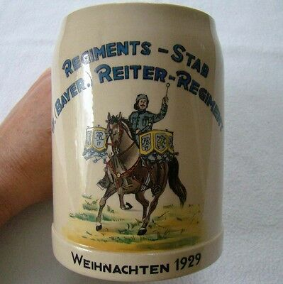17. Bayer. Reiter Regiment - Bierkrug 1929 - original - Art. 3072