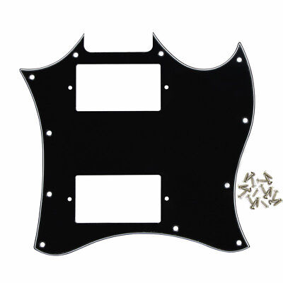 1pcs Standard SG Style Full Face Guitar pickguard, 3 Ply Black with Screws