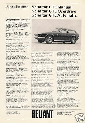 Reliant Scimitar GTE 1973-75 UK Market Specification Leaflet Brochure