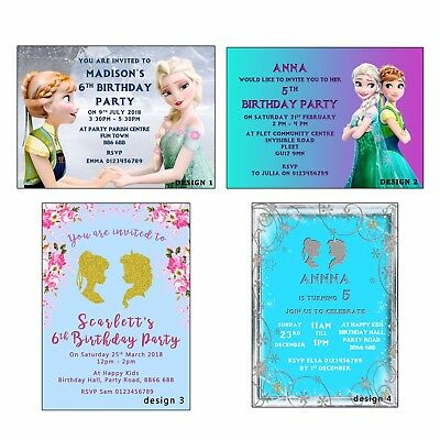 Personalised Invitations, Frozen, Princess, Girls, Kids Birthday Party, proof
