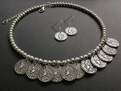Bijoux Vintage Silver Coin Choker Necklace And Earrings Boho Gypsy Festival