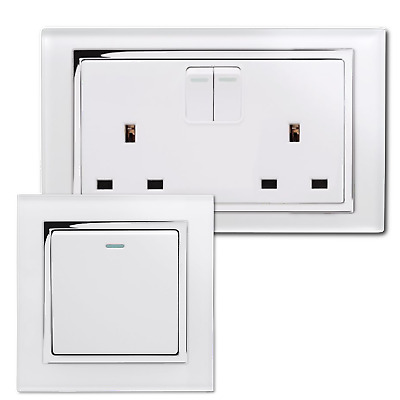 Retrotouch Crystal White Screwless Sockets and Switches (Chrome Trim)