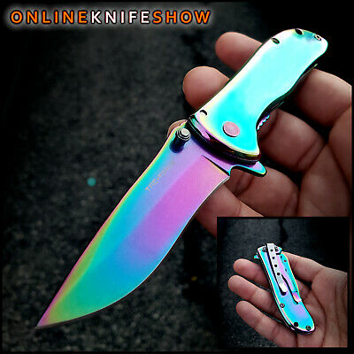 SPRING RAINBOW TAC FORCE EDC Tactical Knife Open Folding Pocket Assisted Blade