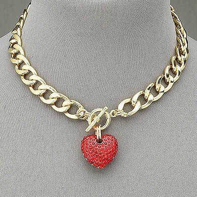 Gold Chain Choker Style Necklace With Paved Red Heart Rhinestone Heart Pendant