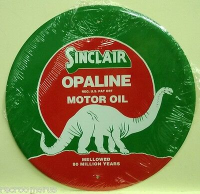 "SINCLAIR OPALINE MOTOR OIL metal sign  12""  with sinclair dino gas and oil rd-25"