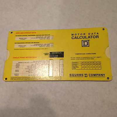 VINTAGE SQUARE D COMPANY MOTOR DATA CALCULATOR Copyright 1972 - Issue 1