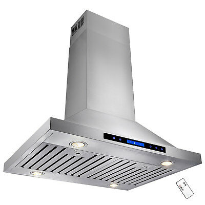 """36"""" Stainless Steel Island Range Hood Kitchen Vents Remote Dual Touch Control"""