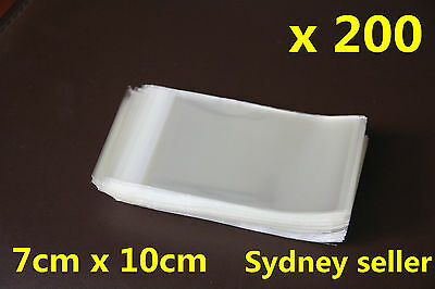 200 Adhesive Self Seal Resealable Clear Plastic Cellophane Bag 7x10cm+2cm Sydney