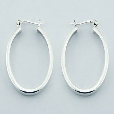 Hoop earrings 925 sterling silver french lock oval design long 40mm height  NEW