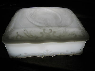 Antique Americana white milk glass soap dish lidded box, leaf scrolls. Lovely