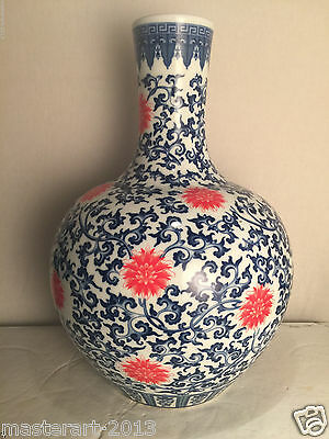 "Beautiful Chinese Porcelain Blue And White Vase 20"" Tall"