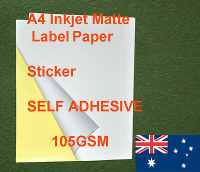 40 X A4 Matte 105GSM Label Sticker Self Adhesive Inkjet and laser Print Paper