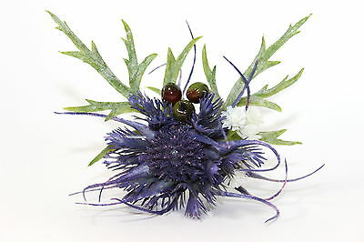 Stunning Purple Highland Thistle  Everlasting Traditional Buttonhole Corsage