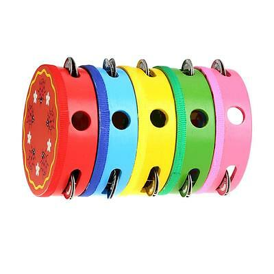Wooden Percussion Musical Toy Tambourine Drum Bell Cartoon for Party Kids Game