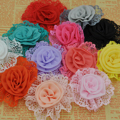 10PCS Large Trim Chiffon Ribbon Bows Flowers Appliques Wedding 85MM F261
