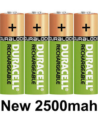 4 x Duracell AA 2400/2500 mAh Duralock PRE / STAY CHARGED Rechargeable Batteries