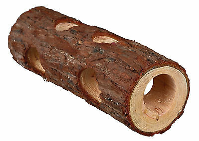 Natural Wooden Tube Tunnel with Peep Holes Dwarf Hamster Mice Gerbil Toy 20cm
