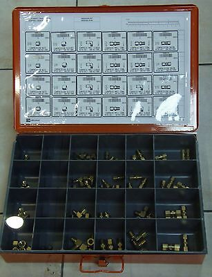 BRASS COMPRESSION FITTINGS ASSORTMENT - 100 PCS w/case & 24 compartment insert