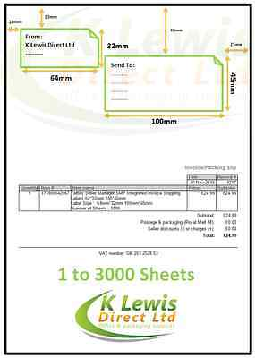 x100 eBay Seller Manager Integrated Invoice Shipping Labels 64x32mm 100x45mm