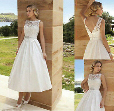 New White Tea Length Short Lace Bridal Gown Wedding Dress Bridal Gown Size 6-18
