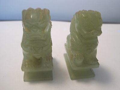 Antique Two Green Jade Foo Dogs.