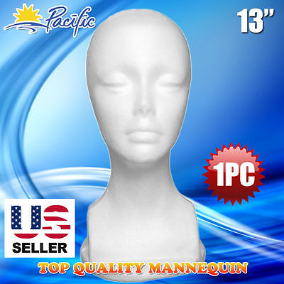 "13"" STYROFOAM FOAM MANNEQUIN MANIKIN head display wig hat glasses 1PC"