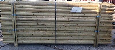 4 x 2.4m (8ft) x 60mm ROUND & POINTED PRESSURE TREATED FENCE POST / TREE STAKE