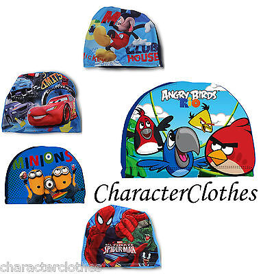New Official Boys CHARACTER Swimming Hat Kids Cartoon Swimwear Age 2-6 Years