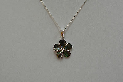 925 Sterling Silver Shell Inlay Flower CZ Pendant Necklace 16""