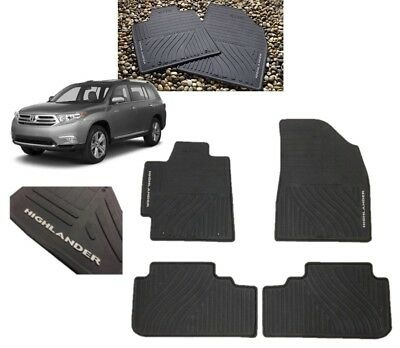 2008-2013 Highlander Floor Mats All Weather Mats Black 4PC Toyota PT908-48G00-02