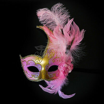 Ostrich Feather Venetian Masquerade Mask for Women M6131 [Gold/Pink]