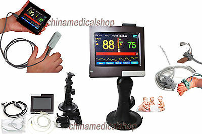 Pulse oximeter Spo2 monitor 3.5' Touch screen with 2 probes (adult and infant)