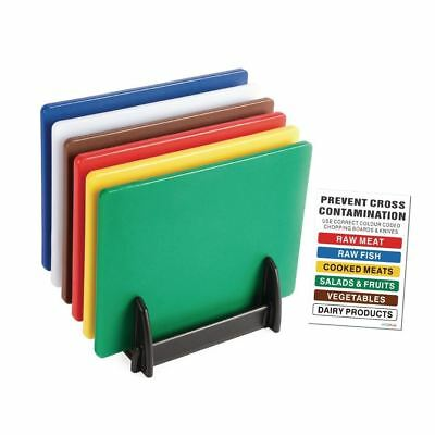 Hygiplas Colour Coded Chopping Board Set with Rack & Wall Chart 6 Pieces