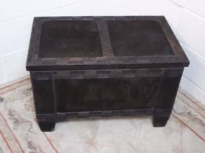 DARK STAINED OAK VENEERED BLANKET BOX / TOY BOX, RECTANGULAR in SHAPE, Late 1950