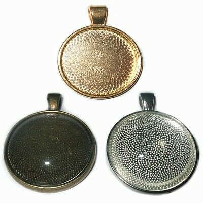 25mm TRAY ROUND SILVER BRONZE GOLD CABOCHON PENDANT SETTINGS GLASS OPTIONAL C33