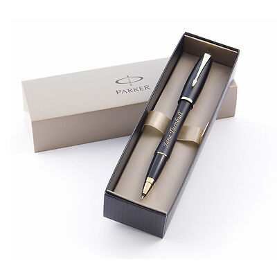 Personalised Engraved Parker Urban Black Gold Trim Rollerball Pen - Great Gift