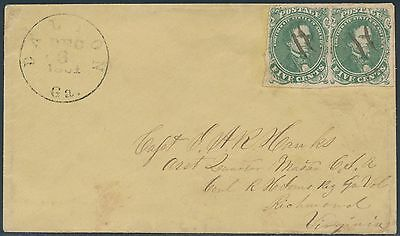 Csa #1 Pair Pen Cnl  On Cover W/ Confederate Stamp Alliance Cert Cv $500 Bs2045