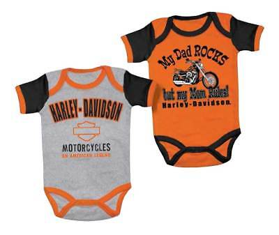 Harley-Davidson Baby Boys' Mom Rules Creeper Set, 2 Pack, Black/Orange 3050553
