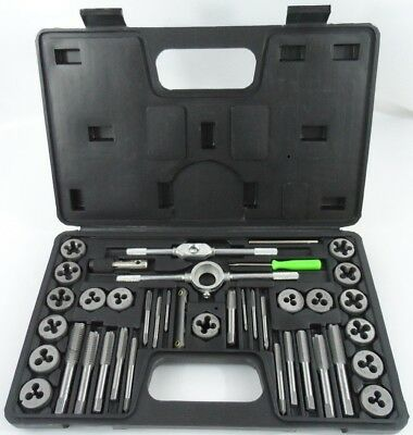 40pc SAE Standard Tap & Die Set w/ Case Screw Extractor Remover Kit Thread NEW