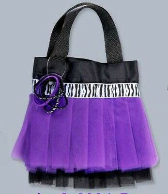 Purple Zebra Tutu Hand Bag/Purse with Hair Elastics