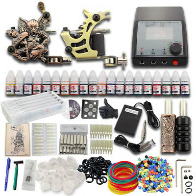 Complete Tattoo Kit 2 Machine Guns Ink Beginner Set Grip Cup Double Power Supply