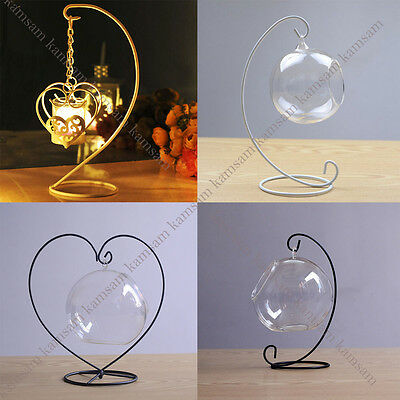 Iron Wedding Candle Holder Moroccan Candlestick Glass Ball Lantern Hanging Stand
