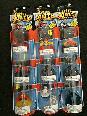 NEW Matchbox Big Boots Figures 3 Pack Set BLAZE BUSTERS FLAME FIGHTERS SWAT TEAM