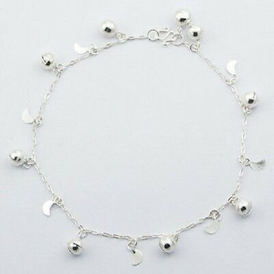 Anklet sterling silver moon sphere charms on chain handcrafted length 250mm new
