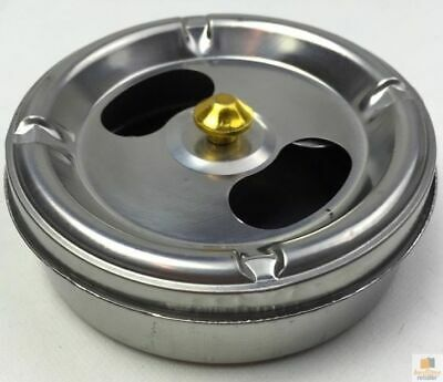METAL ASH TRAY Rotating Lid Cigarette Ashtray Holder Portable Round New