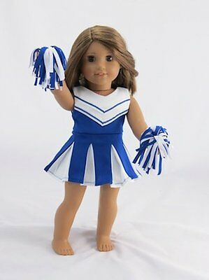 """Doll Clothes 18"""" Blue Cheerleader Outfit Fits American Girl Dolls"""