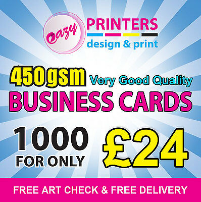 1000 Business Cards Printed On 450gsm Premium Silk - Double Sided - Full Colour