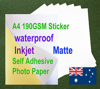 10sheets A4 190GSM Inkjet Waterproof Self Adhesive Matte Photo Print Paper